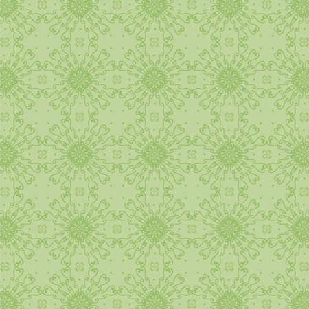 Vector seamless green pattern with curls and dots vegetative natural rhombuses circles.