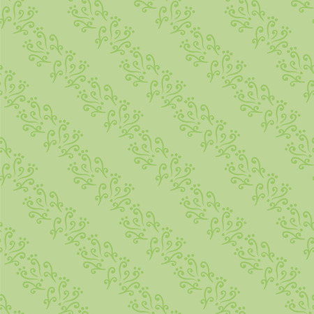 Vector seamless green pattern with curls and dots natural diagonal stripes.
