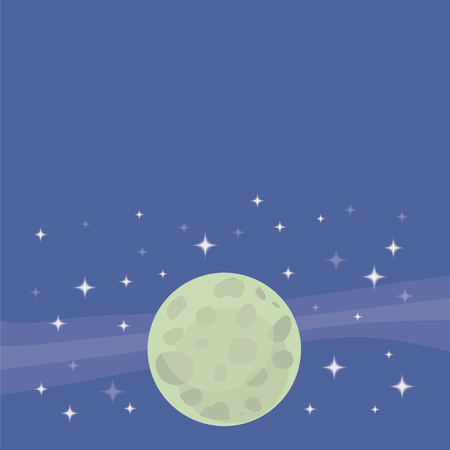 Background vector green moon planet on a background of blue cosmic sky with quadrangular white stars drawing illustration.