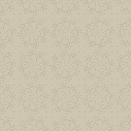 Vector seamless ornament with swirls and circles beige light discreet pattern background.