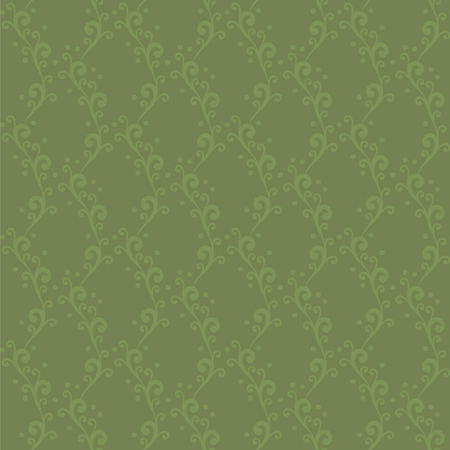 Vector seamless ornament with swirls and dots extended vertical green floral pattern background Illusztráció