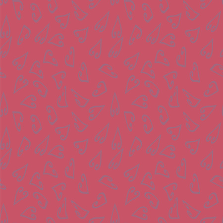 Vector Seamless Pattern Purple Hearts on a Romantic Bright Pink Red Background.