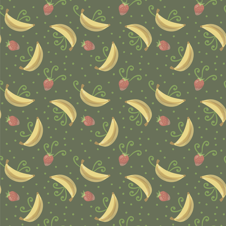 Vector seamless fruits yellow bananas, red strawberry patterns and green spirals with dots on a green lime dark background pattern. Ilustrace