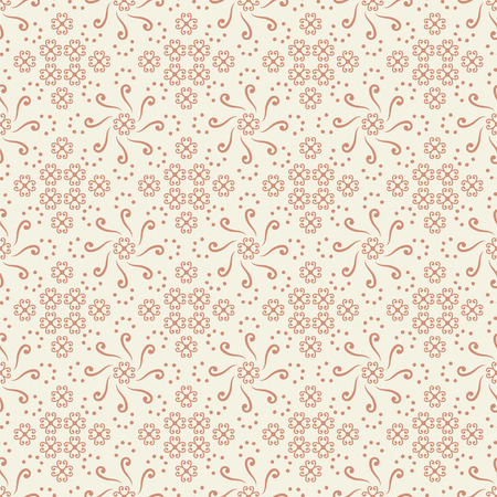 Vector seamless circle ornament and rhombuses made of curls, dots red on white background pattern.