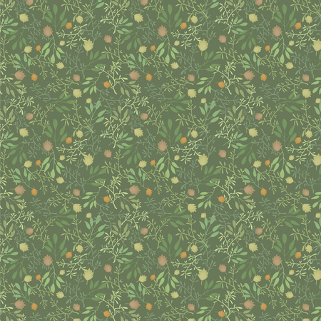 Vector seamless pattern summer grass and leaves green orangish brown forest pattern on a dark green background.