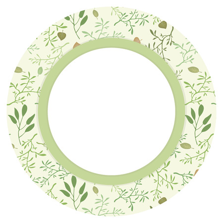 Round wreath circle with a vector pattern with branches and leaves natural background with a white field and shadows. Illusztráció