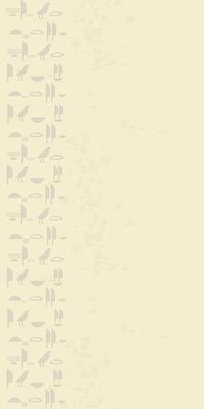 Ancient Egyptian hieroglyphs imitation graffiti wall sandy light spots dirty characters vertical bump seamless vector pattern. Foto de archivo - 112242106