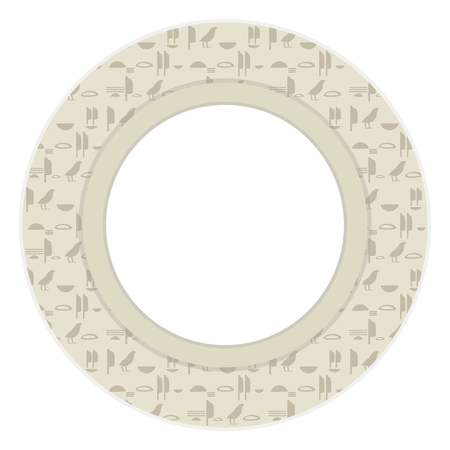 Ancient Egyptian hieroglyphs imitation gray brown symbols a wreath vector greeting card round with a white area in the center.  イラスト・ベクター素材