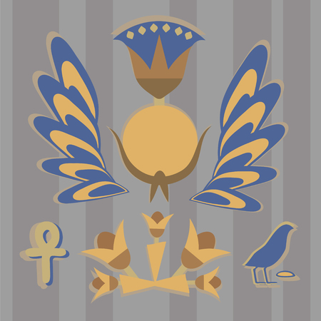 Vector is an ancient Egyptian composition from the sun, flowers, feathers, birds in yellow-blue tones against the background of stripes.