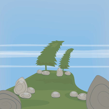 Vector illustration illustration with two curved fir trees on a hill and gray rock stones against a background of green grass and a blue sky with thin clouds.