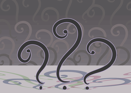 Three black question marks on a background of multi-colored shadows and pattern of signs illustration vector illustration.