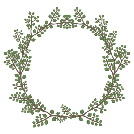 Green wreath of branch leaves of a forest vector isolated object on a white background.