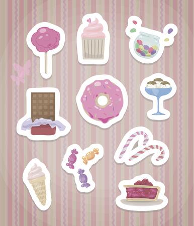 A set of stickers with cute sweet isolated with a white edge and a shadow on a pink background with a pattern.