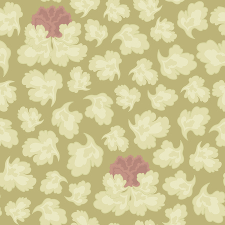 Vector pattern of light-colored leaves and a pink flower on a sepia background with a floral ornament. Stock Illustratie