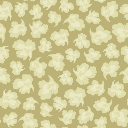 Pattern vector seamless from light leaf petals on a sepia background color retro floral ornament.