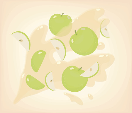 Green bright cut slices with sunflower seeds and round apples flying against a background of apple yellow shiny juice with splashes pattern illustration