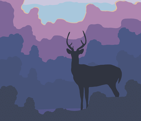 Blue silhouette of a deer against a background of blue forest evening trees, lilac clouds and setting sun vector illustration.
