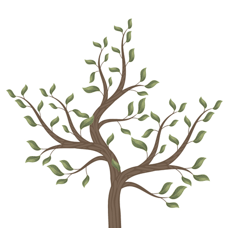 Tree with curved brown branches with leaves on a white background isolated vector illustration. Illusztráció