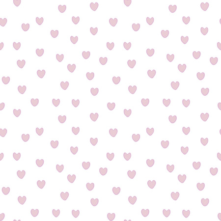 Hearts pink with purple edge on white background seamless vector pattern.