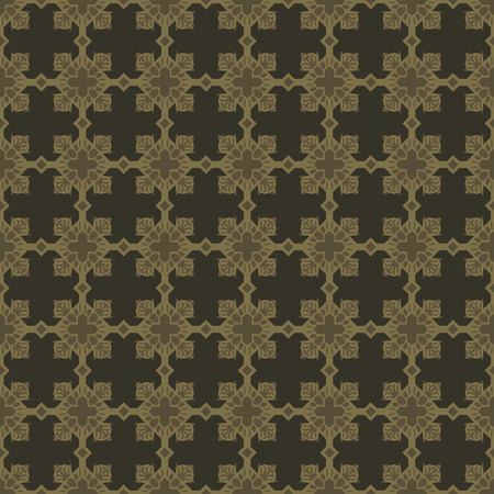 Black with gold cross-shaped ornaments seamless vector pattern.