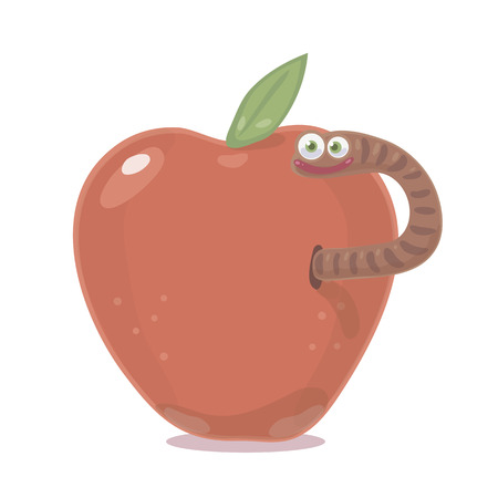 Brown worm with eyes emerges from a wormy red apple with a green leaf vector isolated object on a white background.