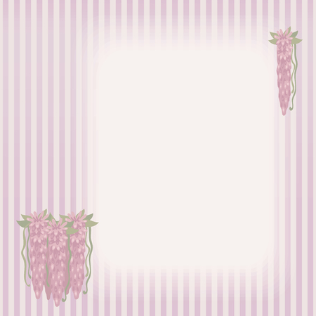 Striped retro vintage card with a composition of bouquets of pink flowing flowers on the left and in the top corner with green leaves and a rectangular light area for labeling vector background.