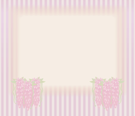 Striped retro vintage card with bunches of three beams of falling pink flowers, rectangular light area for labeling vector cute drawing background.