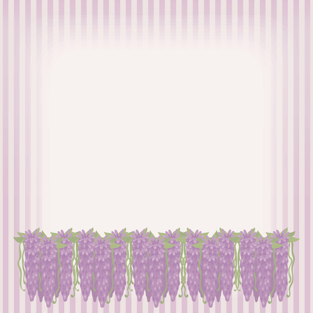Striped retro card with bouquets of pink flowing flowers underneath with green leaves decor and rectangular horizontal lighted area for labeling vector background.