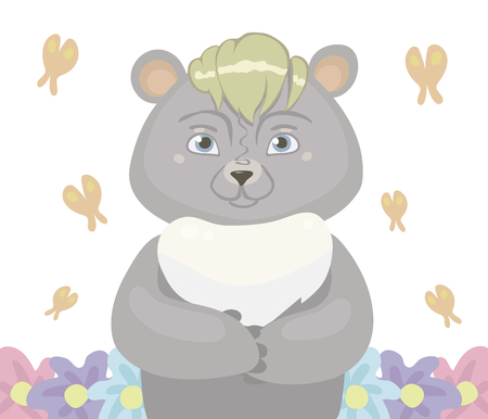 Gray cartoon bear cub with bangs of blond and blue eyes in the center, orange butterflies fly around and grow flowers isolated on white background vector illustration.