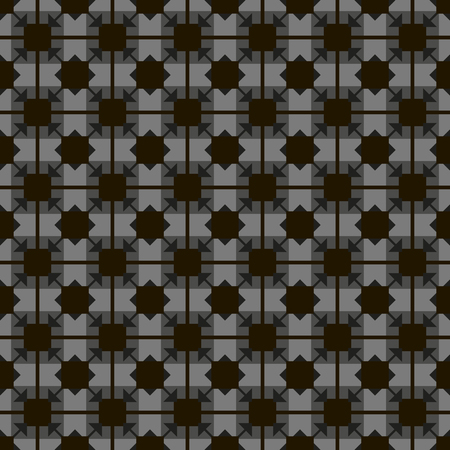 Black squares and rhombuses on a gray background parquet tile vintage vector seamless pattern