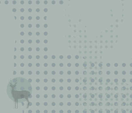 Gray-blue background with circles and patterns outline of a horned deer figure restrained vector illustration background.
