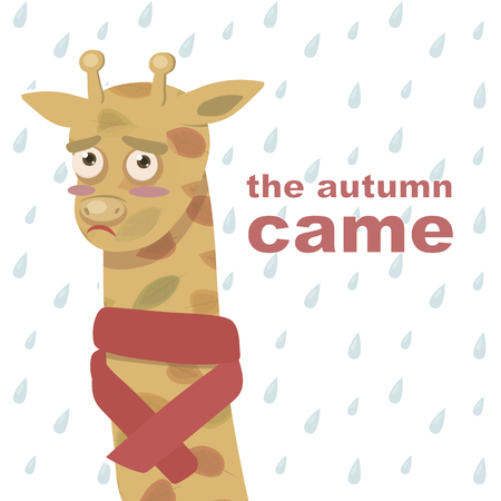 Sad orange giraffe in autumn leaves and a red scarf on the background of raindrops toon with an inscription autumn came a vector illustration pattern
