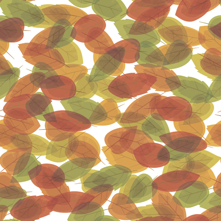 Autumn multicolored leaves of different shapes superimposed on each other through a vectorial seamless pattern on a white background