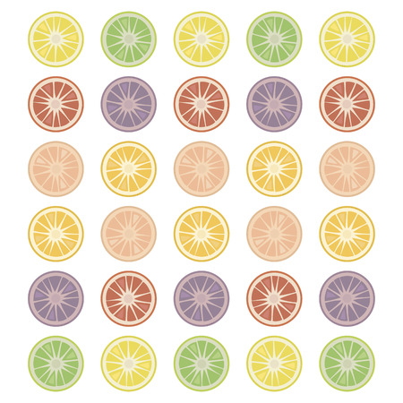 Round citrus slices isolated objects simple on a white background multicolored vector green red fruit.  イラスト・ベクター素材