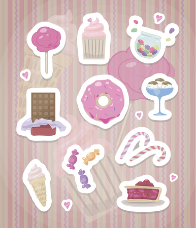 Stickers with pink cute sweets and hearts with a white outline and shadows on a striped pink background vector drawing.