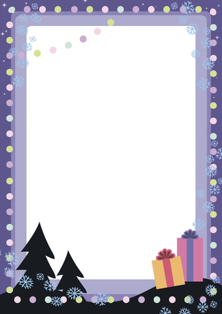 Blue vector festive Christmas card with colorful balls lanterns, snowflakes, two trees and gifts frame decoration.