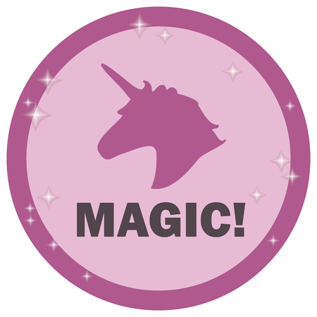 Pink road sign with outline unicorn pattern and magic inscription on white background vector drawing.