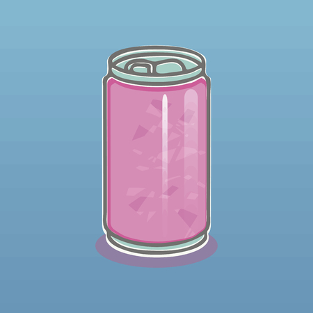 Pink light aluminum can with a drink gray outline and shadow on a blue gradient background vector.