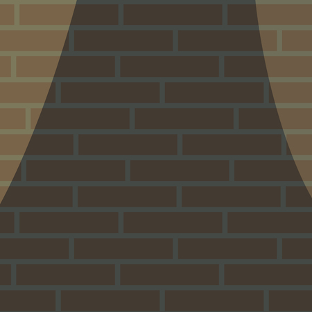 Dark brick wall alley deadlock illuminated by two lanterns on the edges of the vector drawing.