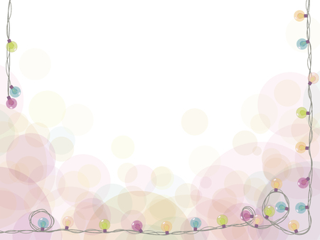 White holiday card with a garland of colored lights framed around the edge of a vector drawing.
