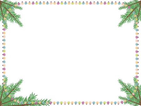 White greeting card with a frame of multicolored lanterns garland and green branches of a Christmas tree vector isolated on white background.