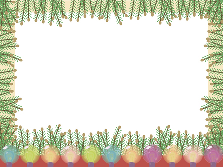 Bright vector card with a frame of green Christmas tree branches and glassy colored festive luminous lights on a white background.