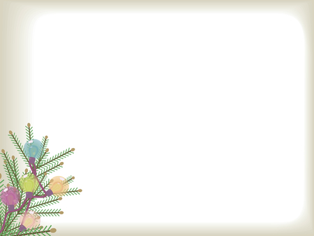 Vector postcard with a green Christmas tree branch in the corner and glass multi-colored festive luminous lights on a white background.