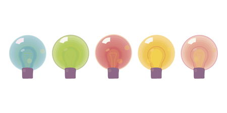 Set of five multicolored glass bulbs glowing bright Christmas decorations isolated on white background vector