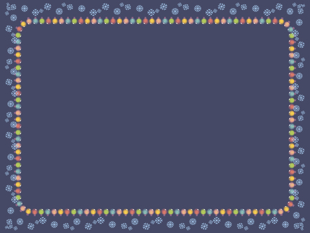 Dark blue card with a frame of a garland of multicolored luminous Christmas tree decorations and blue snowflakes vector. Ilustração