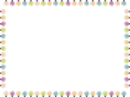 Greeting card square decorated garland of multicolored colored bright glass lanterns vector isolated on white background. Ilustração