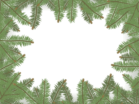 A rectangular vector Christmas card framed by green spruce branches in a circle border on a white background. Ilustração