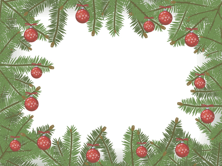 A rectangular vector Christmas card framed by green spruce branches in a circle border with bright red Christmas balls with snowflakes on a white background.