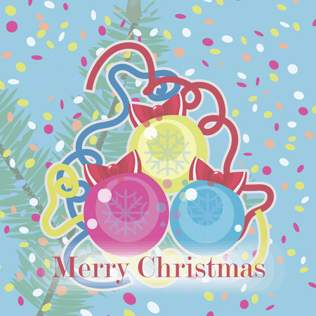 Christmas card with three color pink, yellow and blue glass Christmas balls with snowflakes with red bows, confetti and tinsel on a light blue background. Ilustração