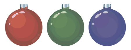 Set of three colored red, green and blue glass Christmas balls objects isolated on a white background.